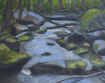 SALE PRICE Original Forest Stream Painting