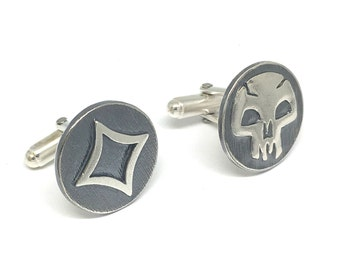 Magic The Gathering Inspired Cufflinks with Colourless & Black Mana symbols
