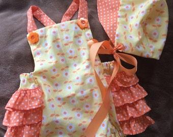 SALE Sunny Citrus Ruffles Romper and Bonnet size 12 months