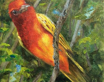 Summer Tanager original oil painting, birding Texas coast