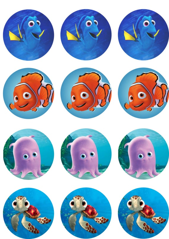Orange And Blue Fish Edible Image Cupcake Toppers