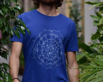 Men's T-shirt Mandala of soft organic cotton hand-painted _