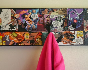 Decoupaged Wonder Woman Coat Key Hat Rack Comic Book Coat Rack Justice League DC Comics Coat Rack Wooden Handmade