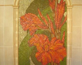 Mosaic art Mosaic wall panel Mosaic mural Extra large wall art mosaic Tile mural outdoor Canna flower mosaic Outdoor mosaic Big mosaic