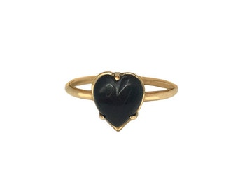 Heart Ring Onyx      turquoise opal stone silver gold sterling jewelry