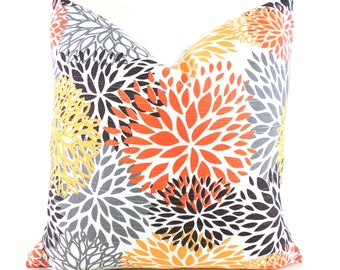 Pillow Covers ANY SIZE Decorative Pillow Cover Orange Pillow Floral Pillow Premier Prints Blooms Chili Pepper
