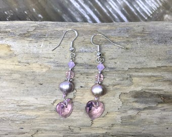 Pink pearl and crystal heart earrings 0140