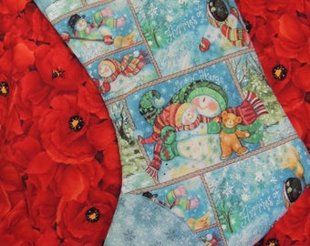 Christmas stocking with Snowman family