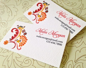 Personalized Floral Business Cards, Custom Business Cards - Set of 50