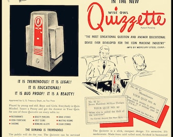 Wise Owl Quizette Replica 1950s Advertising Flyer