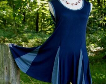 BLUE TUNIC, sleeveless summer tunic