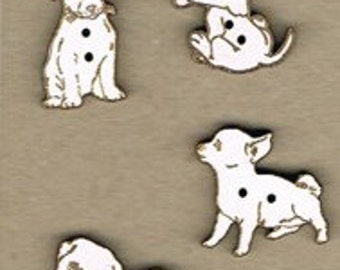 Dogs - Set of 4 buttons made from MDF natural or with white lacquer.  Great addition to your stitching projects.  Made in France