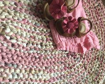 Pink and Tan Rag Rug