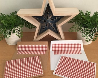 Set of 12 Red & White Gingham Check Note Cards and Envelopes