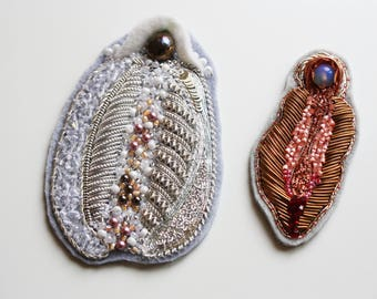 Vulva Goldwork Silver Hand Embroidered Patch