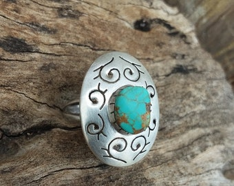 Turquoise Ring 5.5~Sterling Silver~Native American Jewelry-Western Fashions~Bohemian Accessories~Silver Jewelry