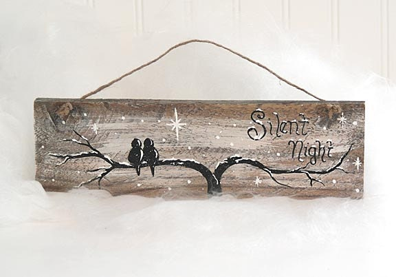 Reclaimed Wood Christmas Sign Original Painting Silent Night