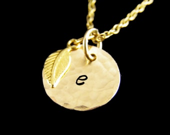 Gold Initial Necklace - Initial & Leaf Necklace - Gold Disc Initial Jewelry
