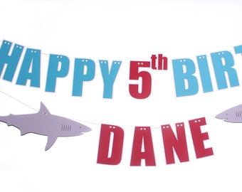 Shark Birthday Banner - Happy Birthday Banner - Shark Party Decorations - Under the Sea Party