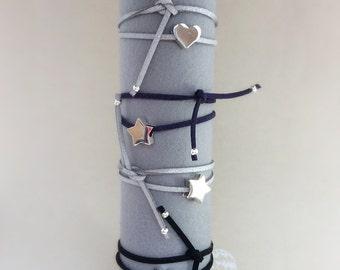Star bracelet, heart bracelet, valentine gift, stacking bracelet, suede strap, wrap bracelet
