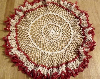 Vintage Farmhouse Crochet Table Toppers x 2  Ships Free in USA Next Day
