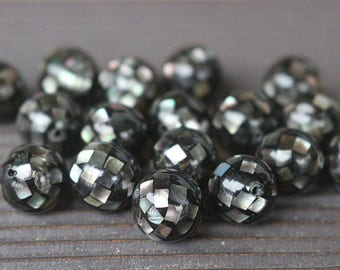 10-20mm Natural Black Abalone Mosaic Round Beads 10pcs  ( 10mm 12mm 14mm 16mm 18mm 20mm )