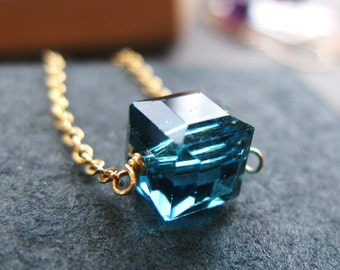 Last one Teal Green Caribbean Cubed teal swarovksi crystal cube 8mm gold necklace