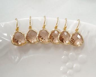 10% off Bridesmaid gifts- 4,5,6 set. Champagne earring, Dangle Earrings,birthstone earring, wedding jewelry, peach earring
