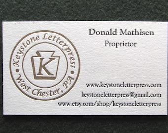 Letterpress Business Card, Sample