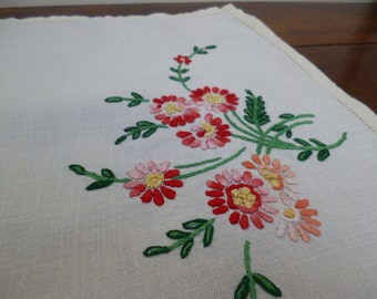 Vintage Linen Tray Cloth Hand-Embroidered with  Flowers at Both Ends