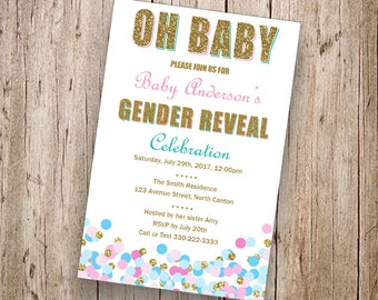 team colors football baby gender reveal invitation printable