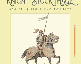 Vintage Medieval Knight Illustration Instant Download Digital printable picture clipart graphic transfer high resolution