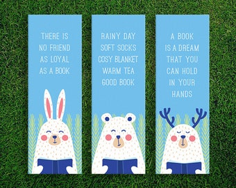 Long Bookmark   The Joy Of Reading Book Lover Quotes Bookmarks Pack of 3 Rainy Day Good Book Warm Tea Cosy Blanket Soft Socks Friend Loyal