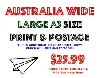 WORLDWIDE Large A3 size HIGH Quality Photographic Print & Postage - Ships from Australia - 5-10 business days