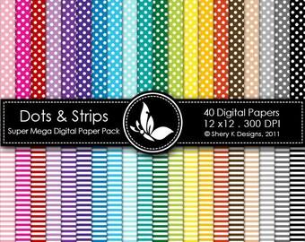 Dots & Strips Super Mega Paper Pack - 40 Digital papers - 12 x12 - 300 DPI