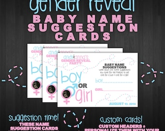 Gender Reveal Baby Name Suggestion Cards! (Digital Files)