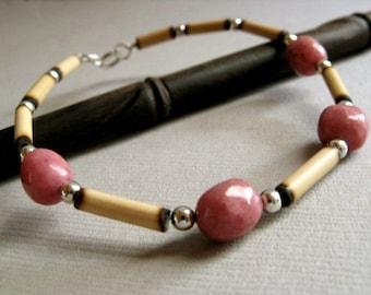 Andean Pink Bracelet - Rhodonite, Wood and Sterling Silver