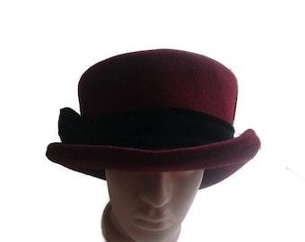 Vintage 50s Ladies Bowler hat Derby hat Maroon bucket wool Hat Women's retro Formal MARIDA hat Burgundy felt brim hat  Black velvet bow hat