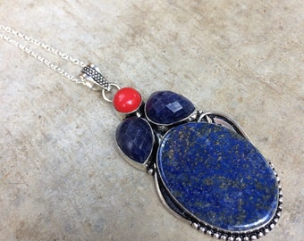 "Lapis lazuli, Sapphire, coral and silver pendant. 925 sterling silver chain. Lapis lazuli, sapphire, coral pendant with 18 ""sterling silver chain"
