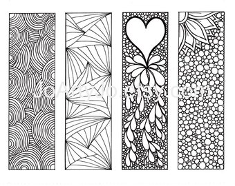 Bookmarks to Color DIY, Zentangle Inspired Printable, Digital Download, Sheet 2
