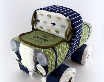 Truck Diaper Cake - Baby Boy Diaper Cake - Unique Diaper Cake - Baby Shower Gift or Centerpiece - OOAK Gift Ideas - Diaper Cake for Boys