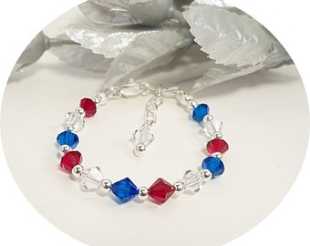 Girls Bracelet, Red, White and Blue, Bracelet, Deployment, 4th of July, Nautical, Pageant Jewelry, Austrian  Crystal, Kids Jewelry