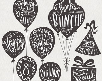CLIP ART: Birthday & Greeting Overlays // Hand Lettering // Photoshop PSD Vector eps // Happy Birthday Balloon Party Hat // Digi Stamp