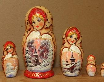 Sale Sale Winter Scene Nesting Doll  Matryoshka doll set of 5