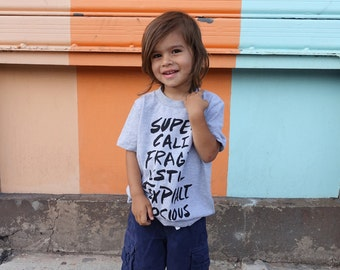 Supercalifragilistic | Gray Mary Poppins Kids Tee