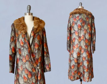 1920s Flapper Coat / 20s Metallic Lamé Cocoon Coat/ Fur Trimmed / AMAZING