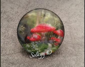 Various round glass dome cabochon 25mm red and white forest mushrooms