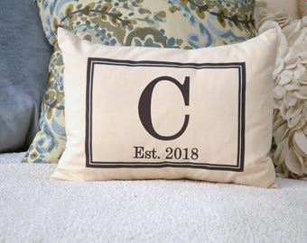 Personalized Monogram, 2nd anniversary cotton, fiance gift for her, second marriage, engaged gift, kneel pillow