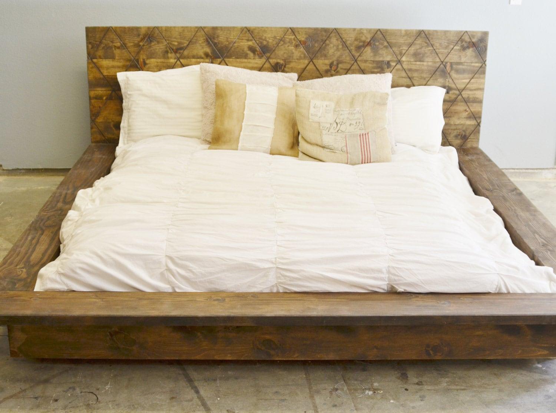 Rustic Wood Platform Bed frame with Patterned