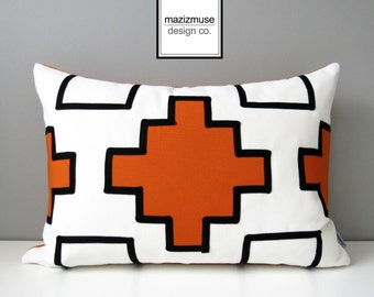 Geometric Pillow Cover, Modern Orange Outdoor Pillow Cover, Decorative Black & White Sunbrella Cushion Cover, Tribal Pillow Cover